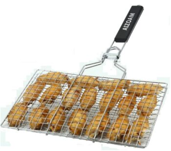 A stainless steel grill basket